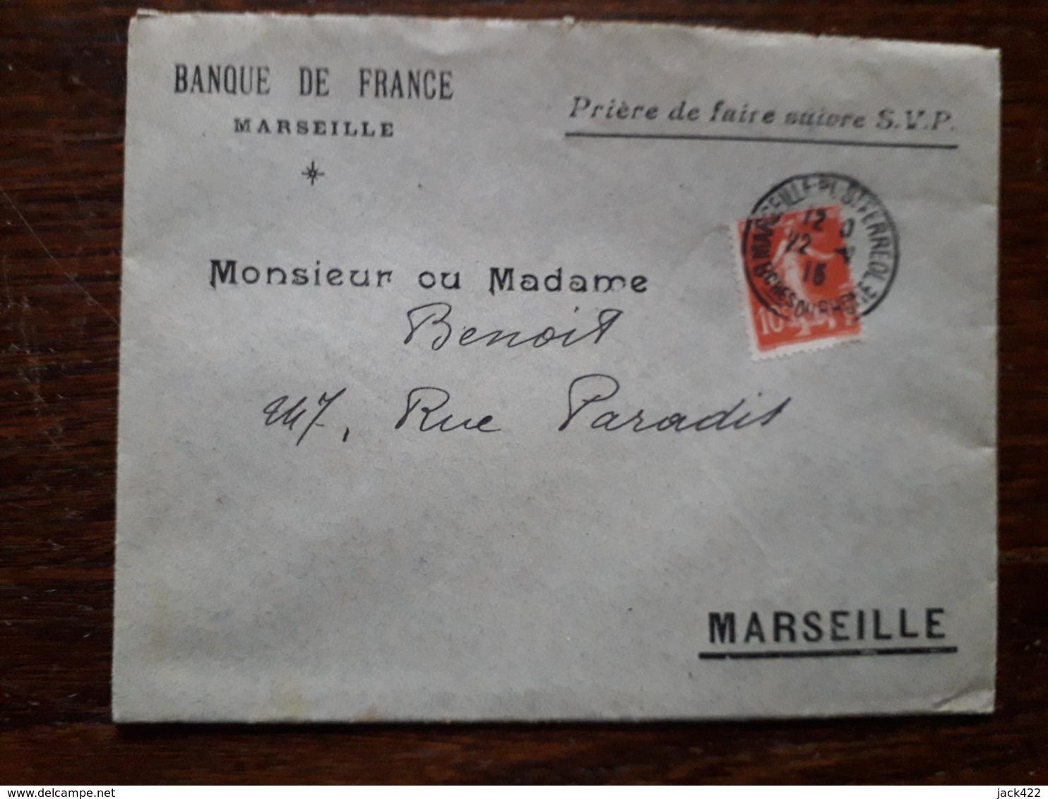 L19/246 Enveloppe Publicitaire . Banque De France. Marseille - Bank & Insurance