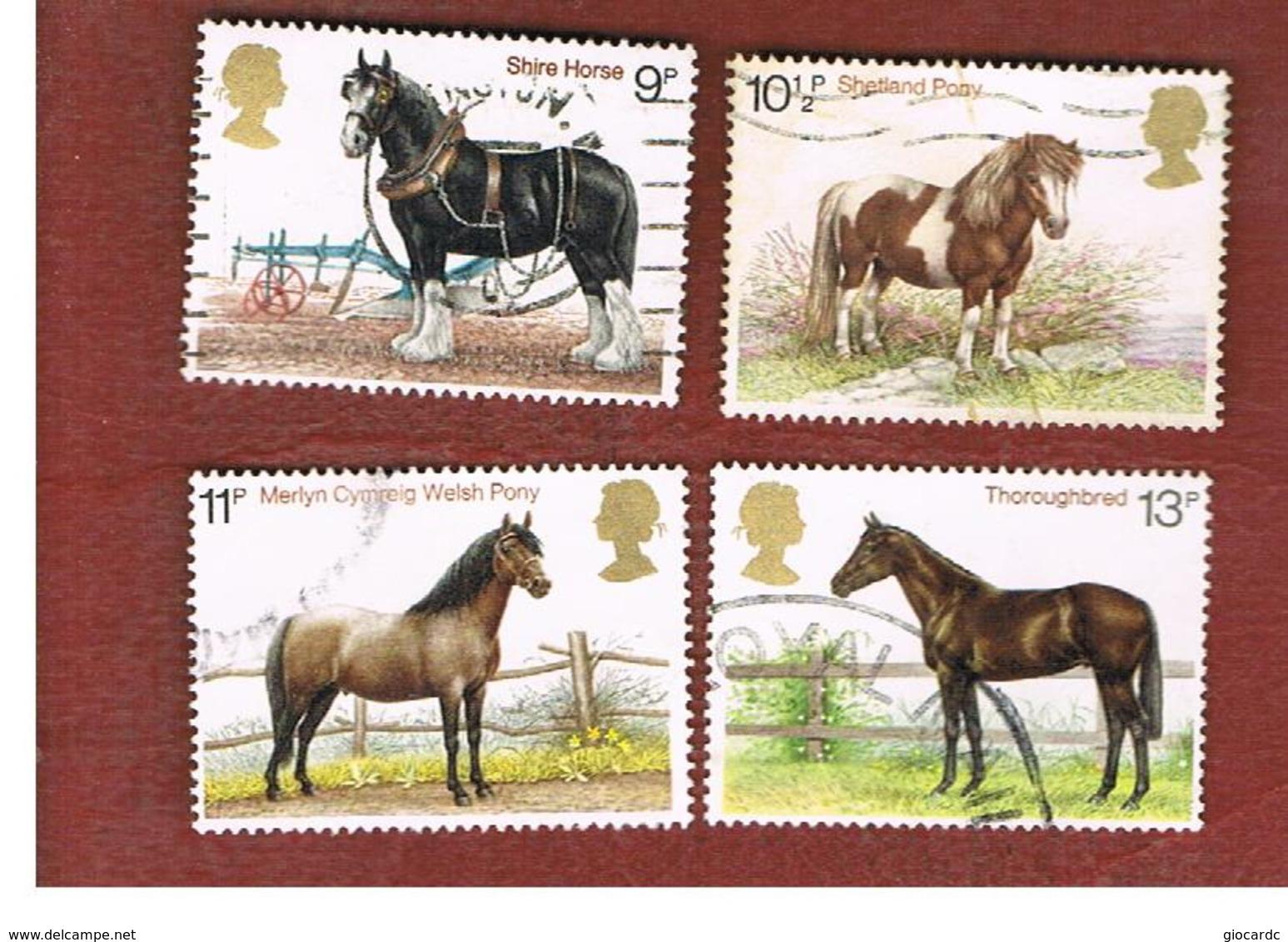 GRAN BRETAGNA (UNITED KINGDOM) -  SG 1063.1066  -  1978 HORSES (COMPLET SET OF  4) - USED - 1952-.... (Elisabetta II)