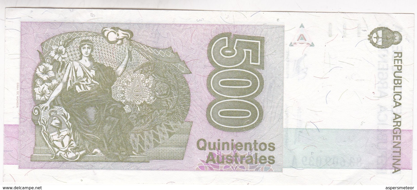 BANCO CENTRAL DE LA REPUBLICA ARGENTINA 500 AUSTRALES NICOLAS AVELLANEDA - BLEUP - Argentine