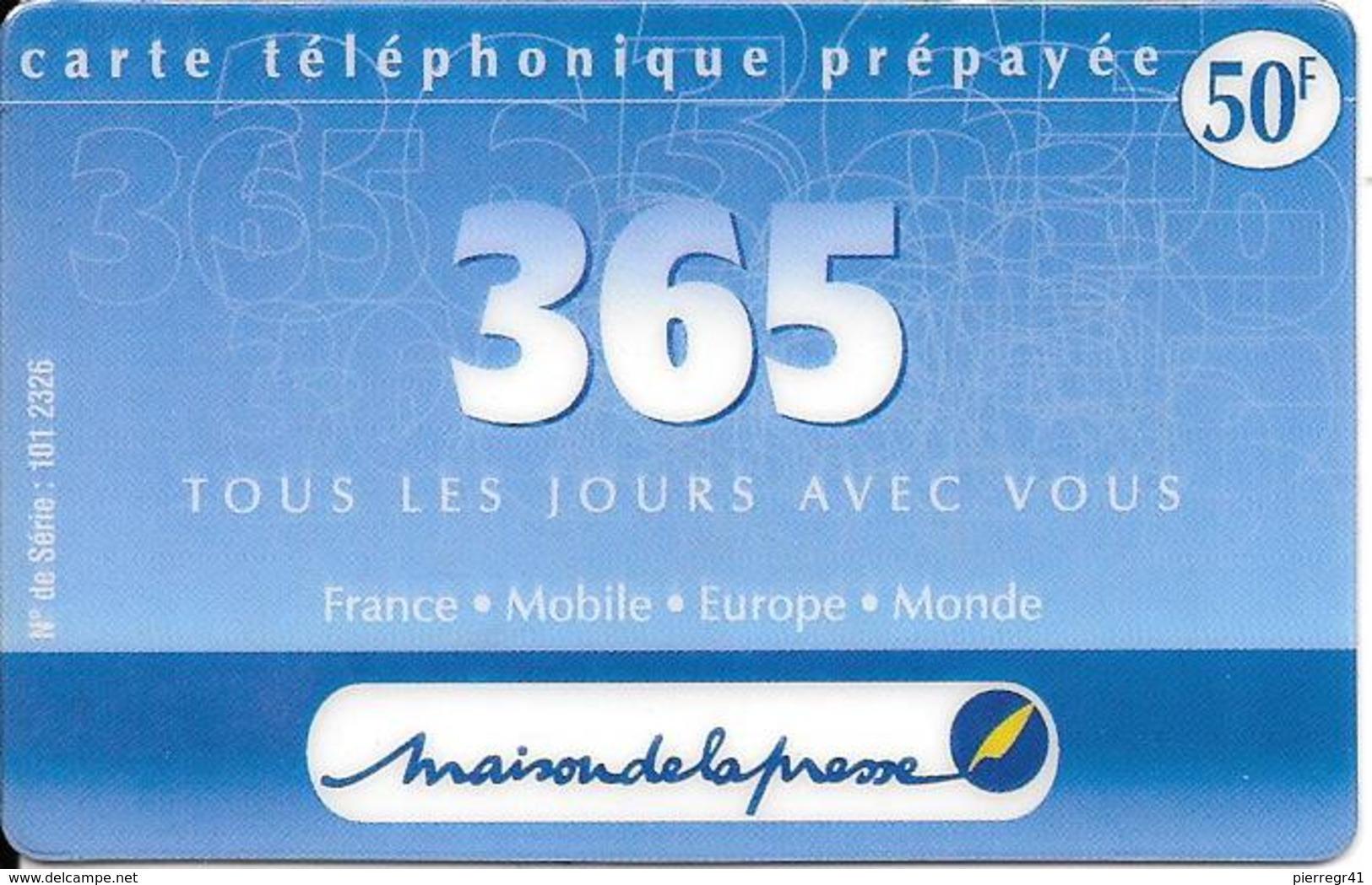 CARTE-PREPAYEE-365--50F-Exp 31/03/2001-R°Logo Maison De La Presse -GRATTE- TBE-RARE - Autres Prépayées