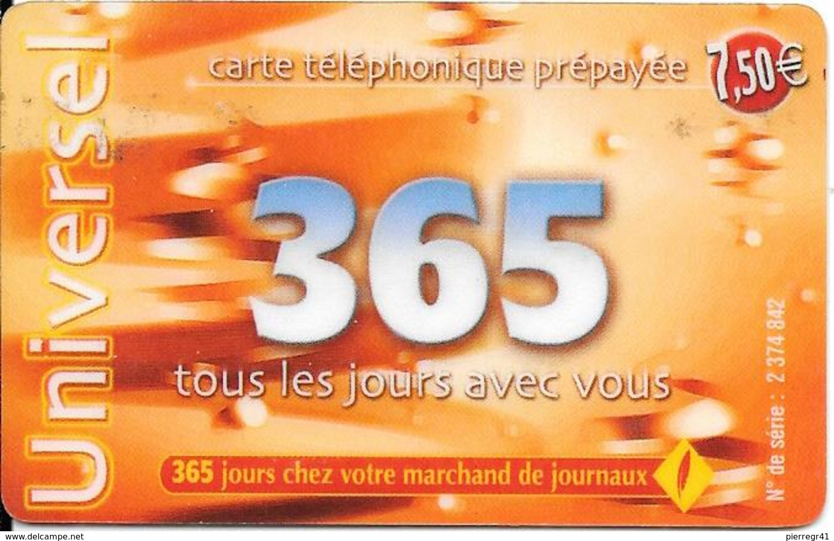 -CARTE-PREPAYEE-365-7,5€- 31/12/2003-R° Logo-365jours Rge-N° Sur Fond Gris Foncé-Code 3x4 N°-GRATTEE-TBE- - Autres Prépayées
