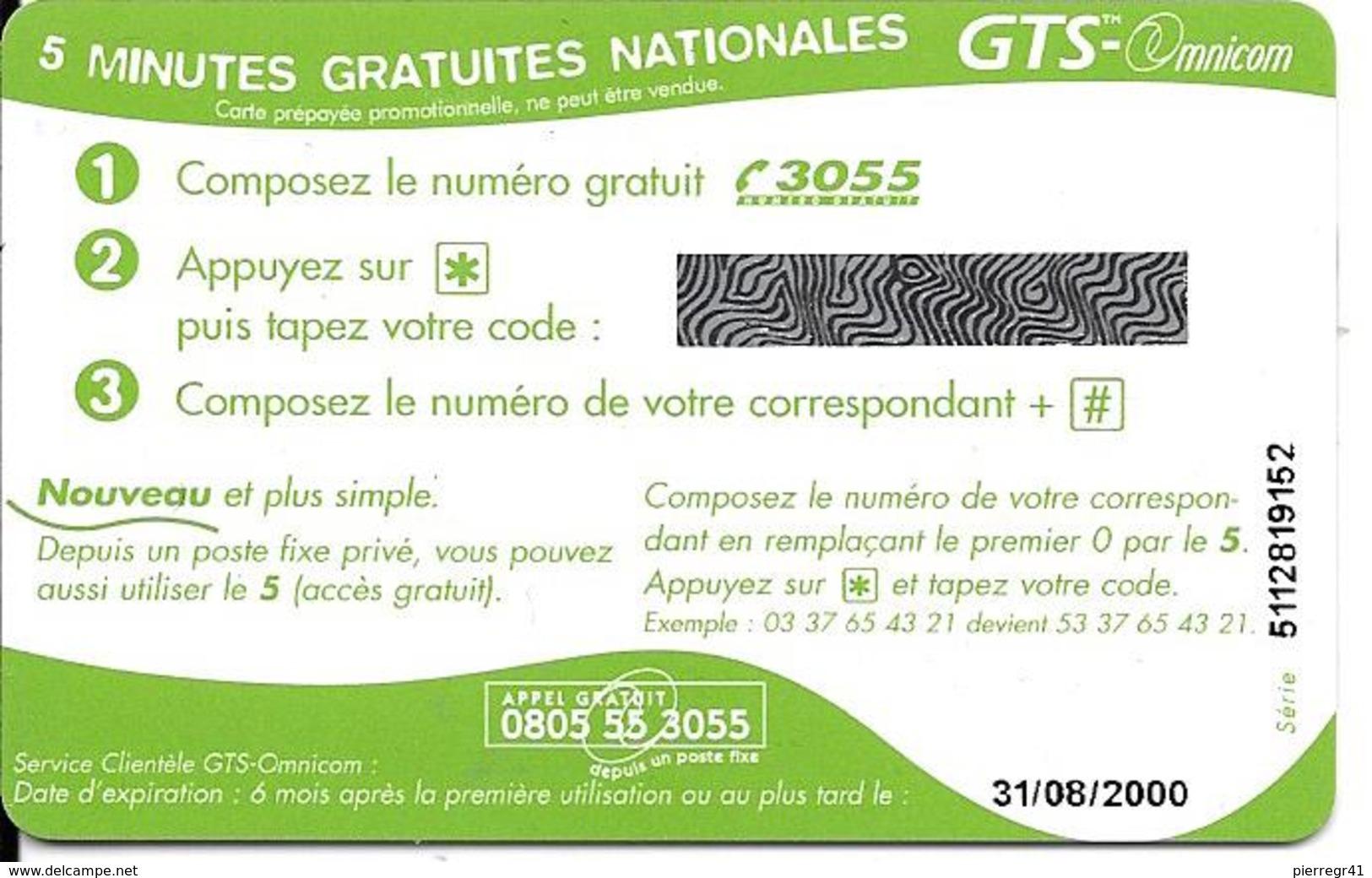 CARTE-PREPAYEE-GTS-OMNICOM-5Mn Gratuites-SOUTH PARK-31/08/2000-NEUVE-NON GRATTE-TBE-RARE - Autres Prépayées