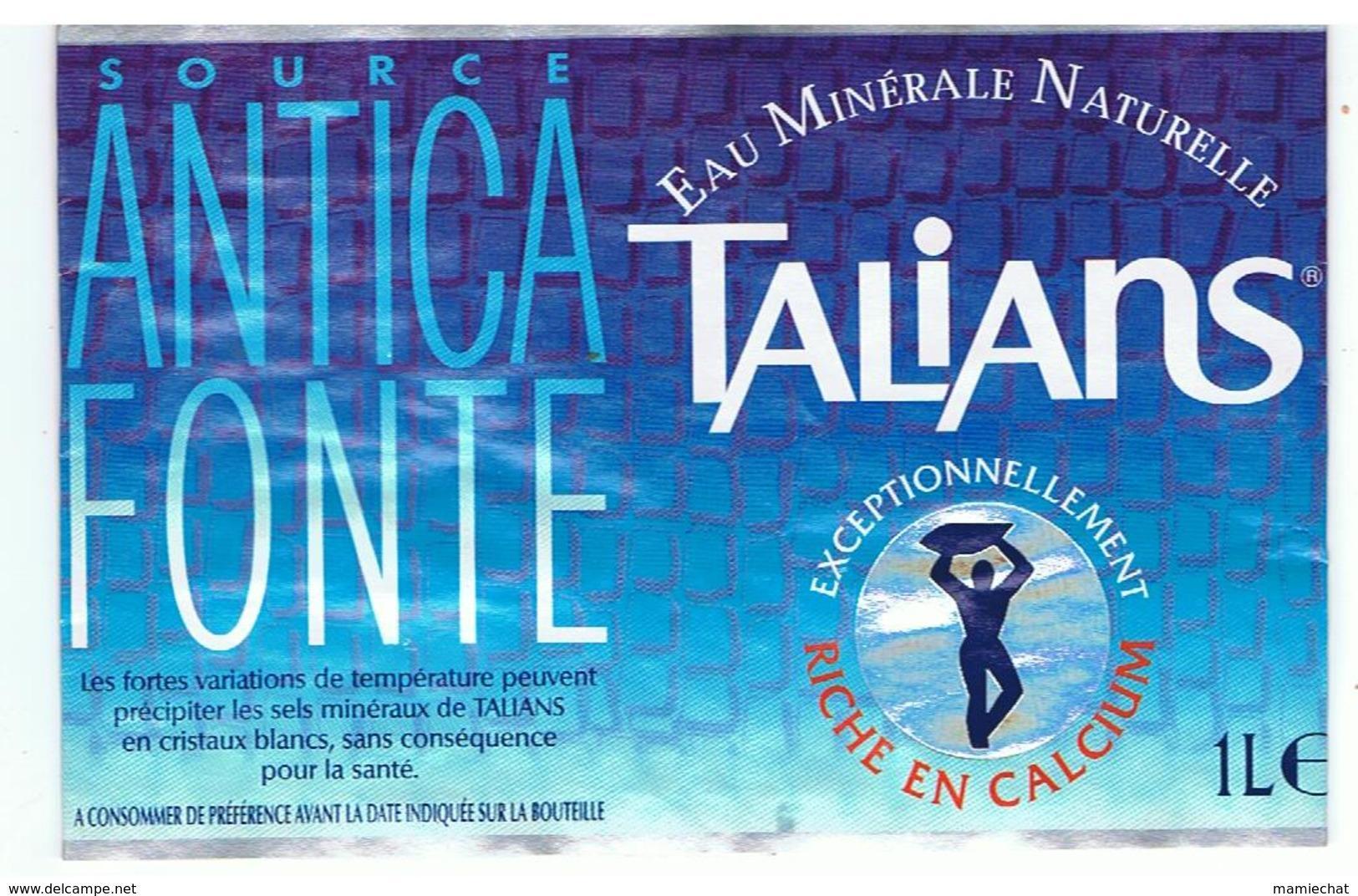 """ETIQUETTE D'EAU MINERALE-FRANCE-""""TALIANS""""- - Etiquettes"""