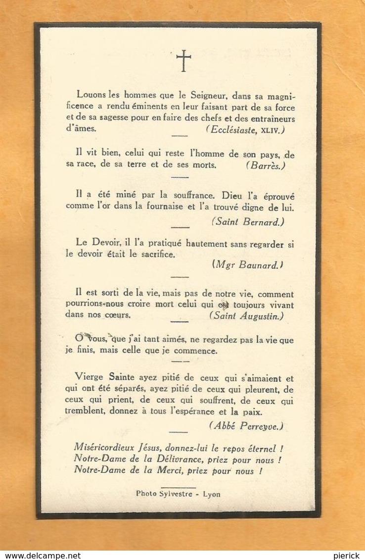IMAGE GENEALOGIE FAIRE PART AVIS DECES CARTE MORTUAIRE BOURG ARGENTAL  SENECLAUZE CHEVALIER SAINT GREGOIRE  1872 1944 - Décès