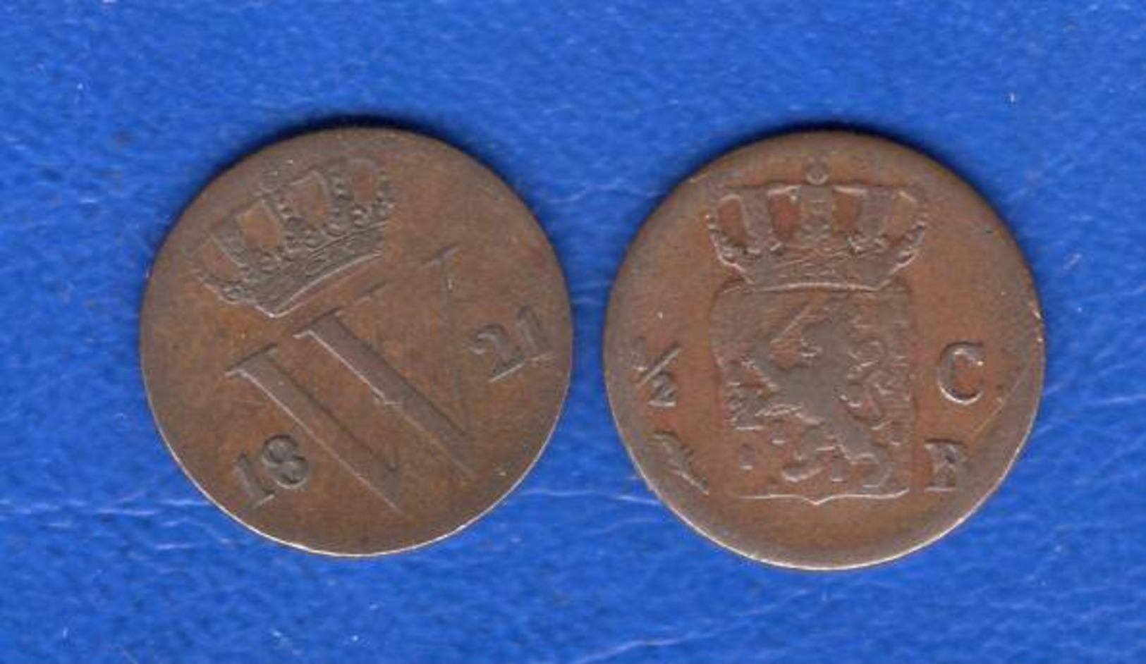 1/2  Cents  1821 +1821 B  Rare - [ 3] 1815-… : Royaume Des Pays-Bas