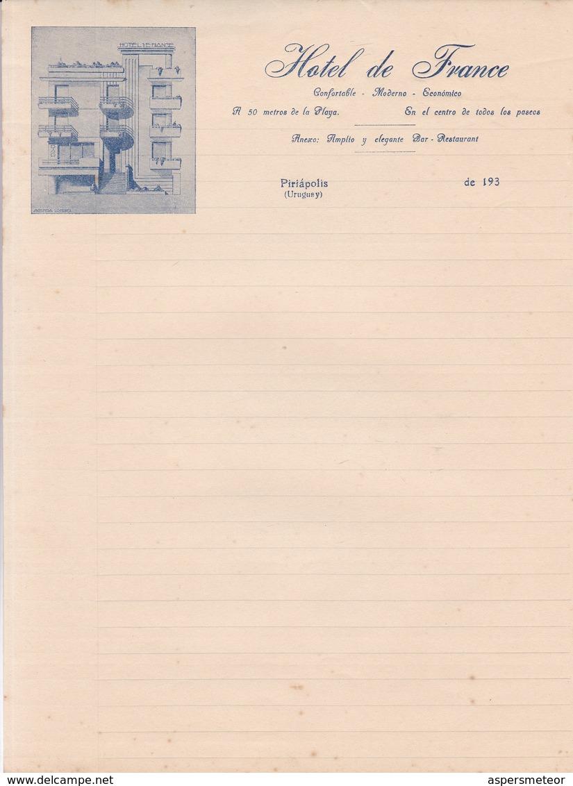 HOTEL DE FRANCE-PIRIAPOLIS, URUGUAY-OLD PAPER CIRCA 1930s LETTER PAPER UNUSED - BLEUP - Alte Papiere