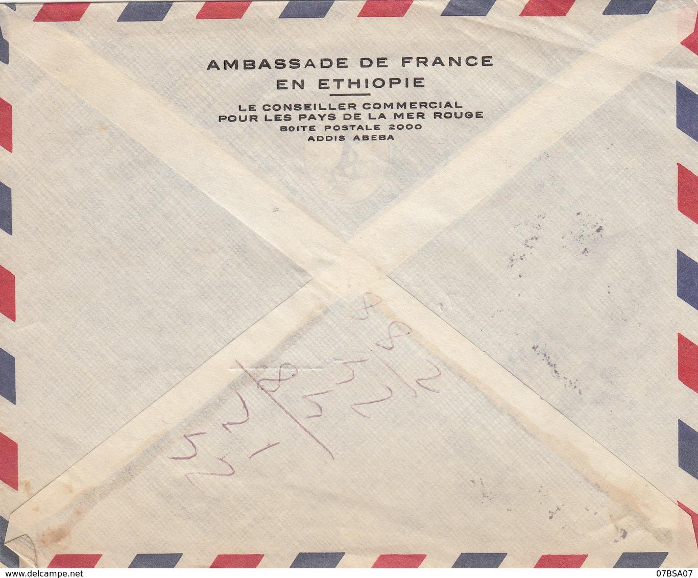 ETHIOPIE AMBASSADE FRANCE VALISE DIPLOMATIQUE ENV 1967 ADDIS ABEBA => MINISTERE FINANCES PARIS => MIS AU BUREAU DE POSTE - Ethiopie