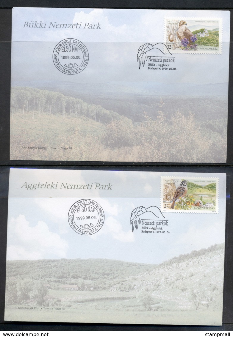 Hungary 1999 Europa Nature Parks, Birds 2x FDC - FDC