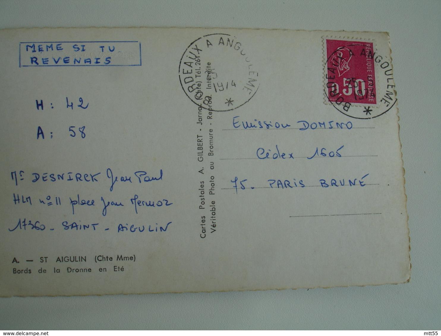 Bordeaux A Angouleme 1 Etoile Cachet Ambulant Convoyeur Poste Ferroviaire Sur Lettre - Marcophilie (Lettres)