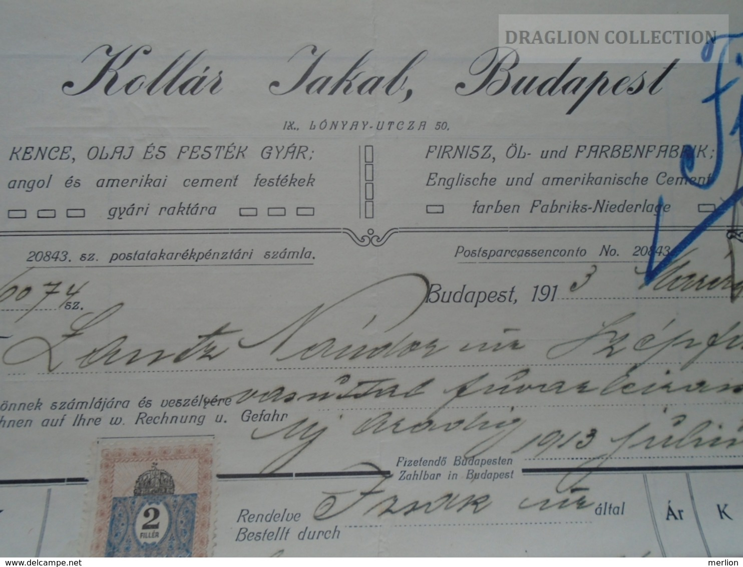 ZA192.21 Hungary   Rechung Faktura Invoice  Kollár Jakab - Lántz -Temesszépfalu  Temes 1913 - Facturas & Documentos Mercantiles