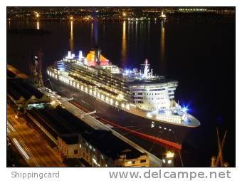 CUNARD QUEEN MARY 2 (QM2) IN RIO DE JANEIRO AT NIGHT 2004 - Steamers