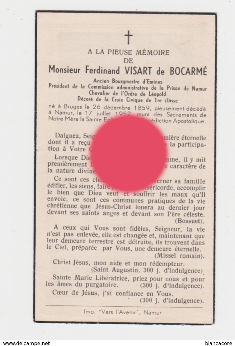 Comte Ferdinand Visart De Bocarmé Bourgmestre Emines  La Bruyère Bruges 1859 - Namur 1952 - Obituary Notices