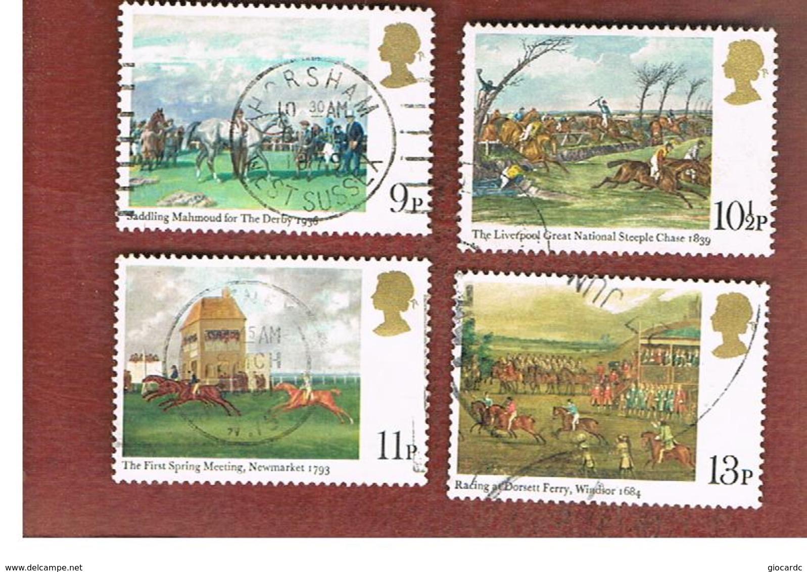 GRAN BRETAGNA (UNITED KINGDOM) -  SG 1087.1090 -  1979 HORSE-RACING PAINTINGS (COMPLET SET OF 4)- USED - Usati