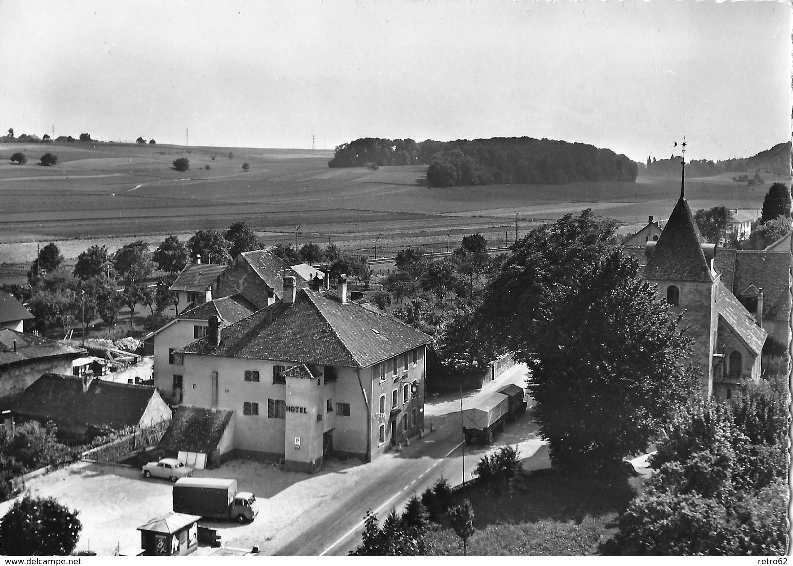 CORNAUX → Vue Aérienne Hotel Du Soleil Avec LKW & Oldtimer, Ca.1955 - NE Neuenburg