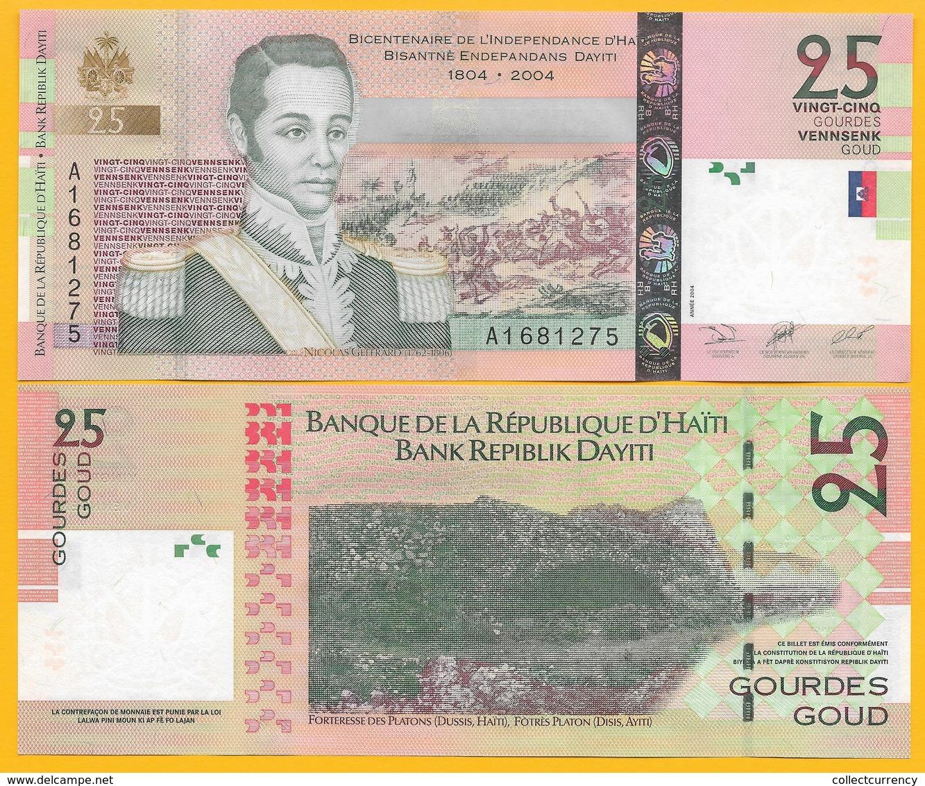 Haiti 25 Gourdes P-273 2004 UNC Banknote - Haiti