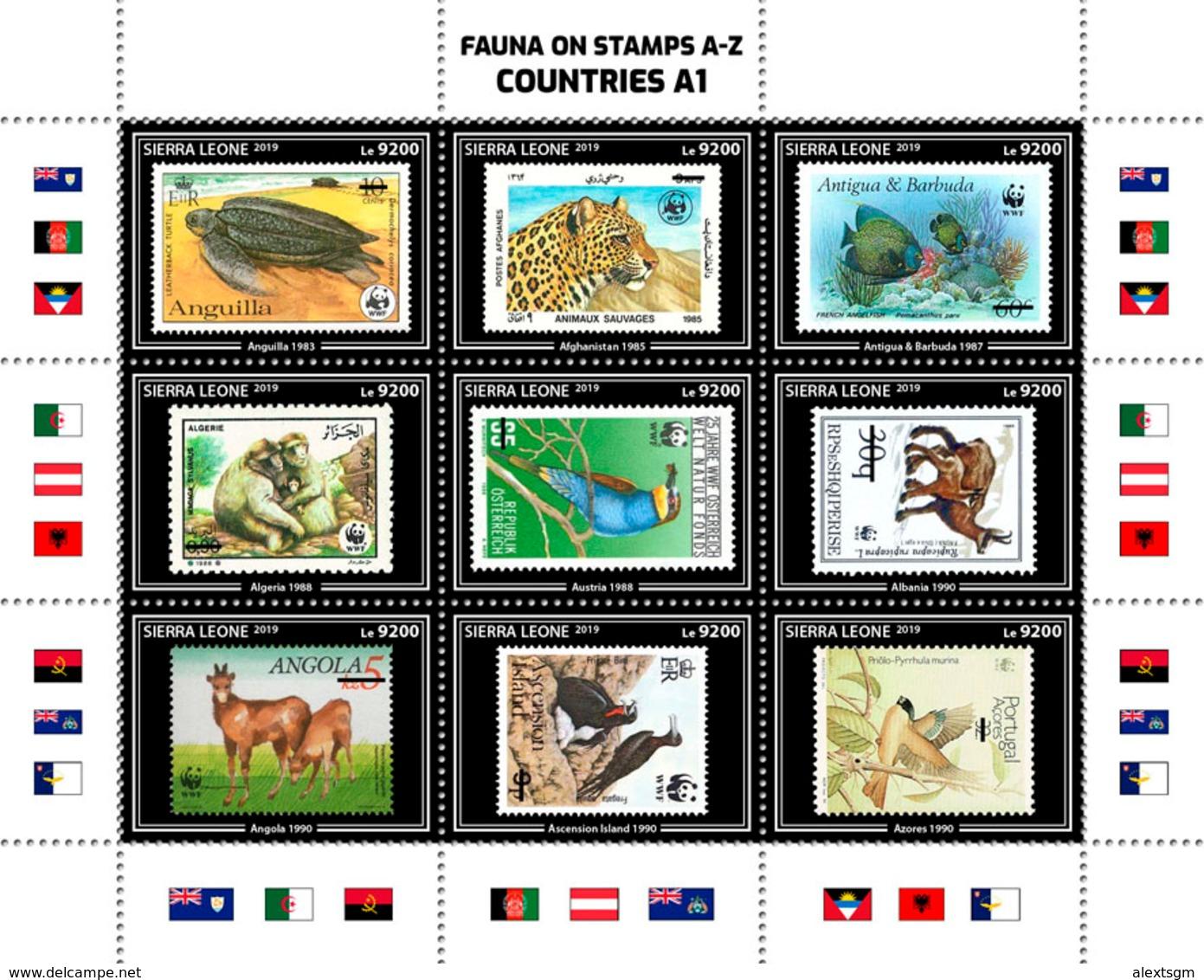 SIERRA LEONE 2019 - Leopard, Fauna On Stamps A1. Official Issue. - Roofkatten