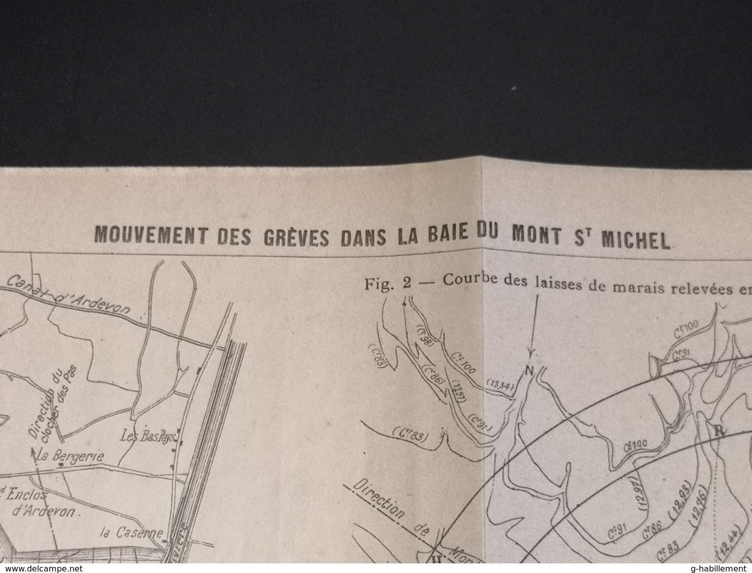ANNALES DES PONTS Et CHAUSSEES (Dep 50)- Plan Du Mouvement Des Grèves Aux Mont St Michel - 1913 - Imp .A.Gentil (CLF08) - Cartes Marines