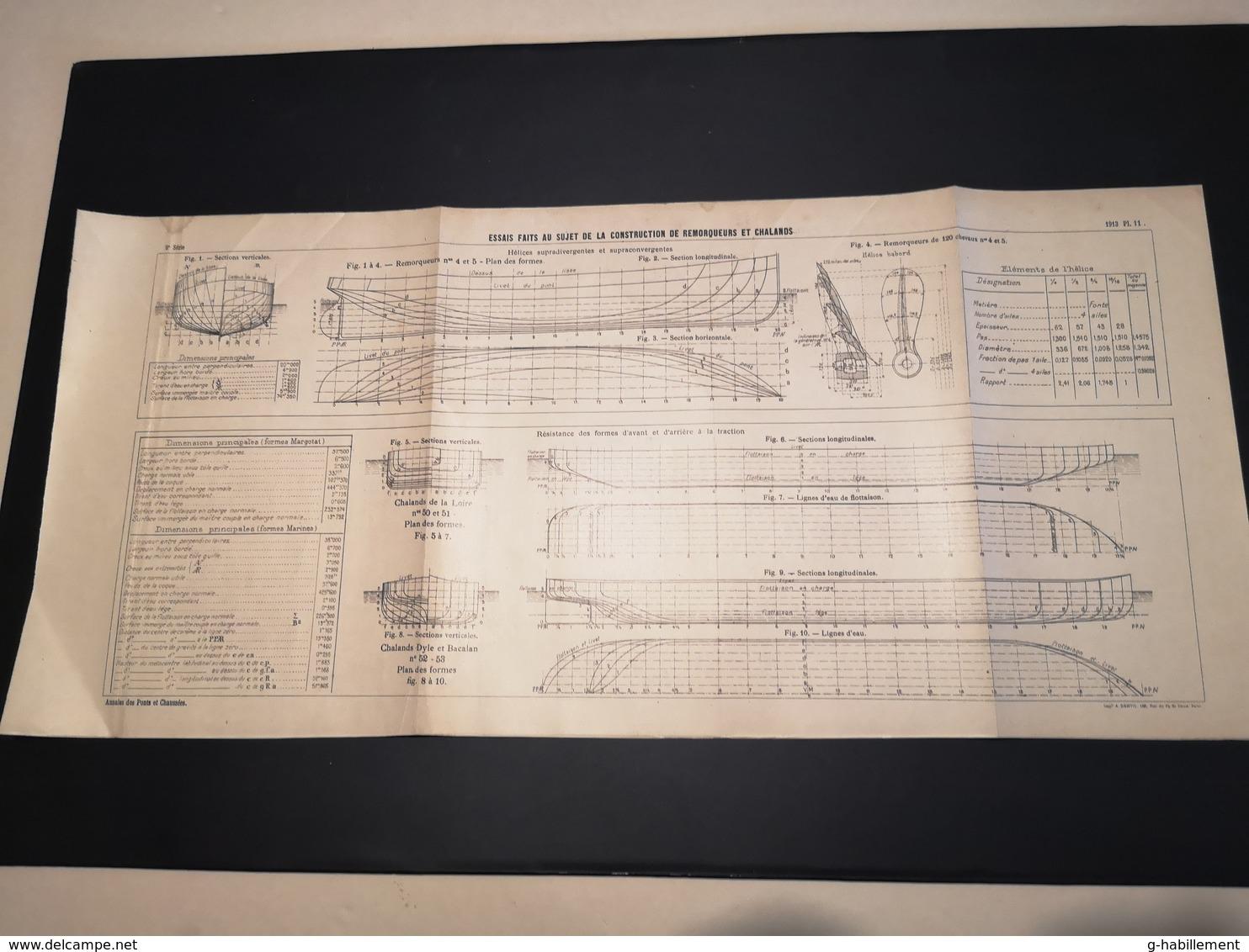 ANNALES DES PONTS Et CHAUSSEES - Plan D'Essais Fait Sur La Construction De Remorqueurs - 1913 - Imp .A.Gentil (CLF09) - Machines