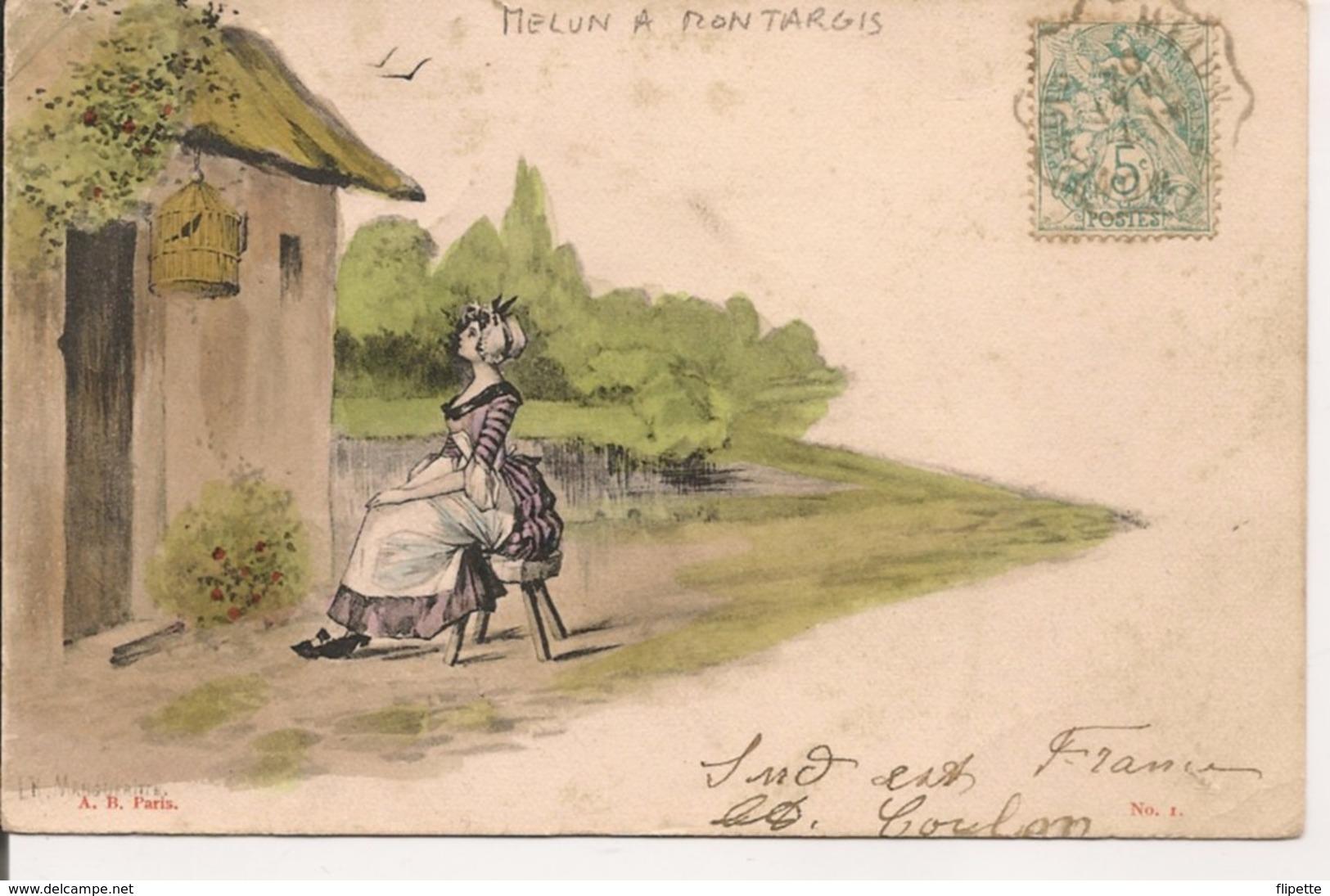 L35B551 - Femme Assise Et Regardant Son Oiseau En Cage - LK Margueritte -  A.B N°1 - Carte Précurseur - Women