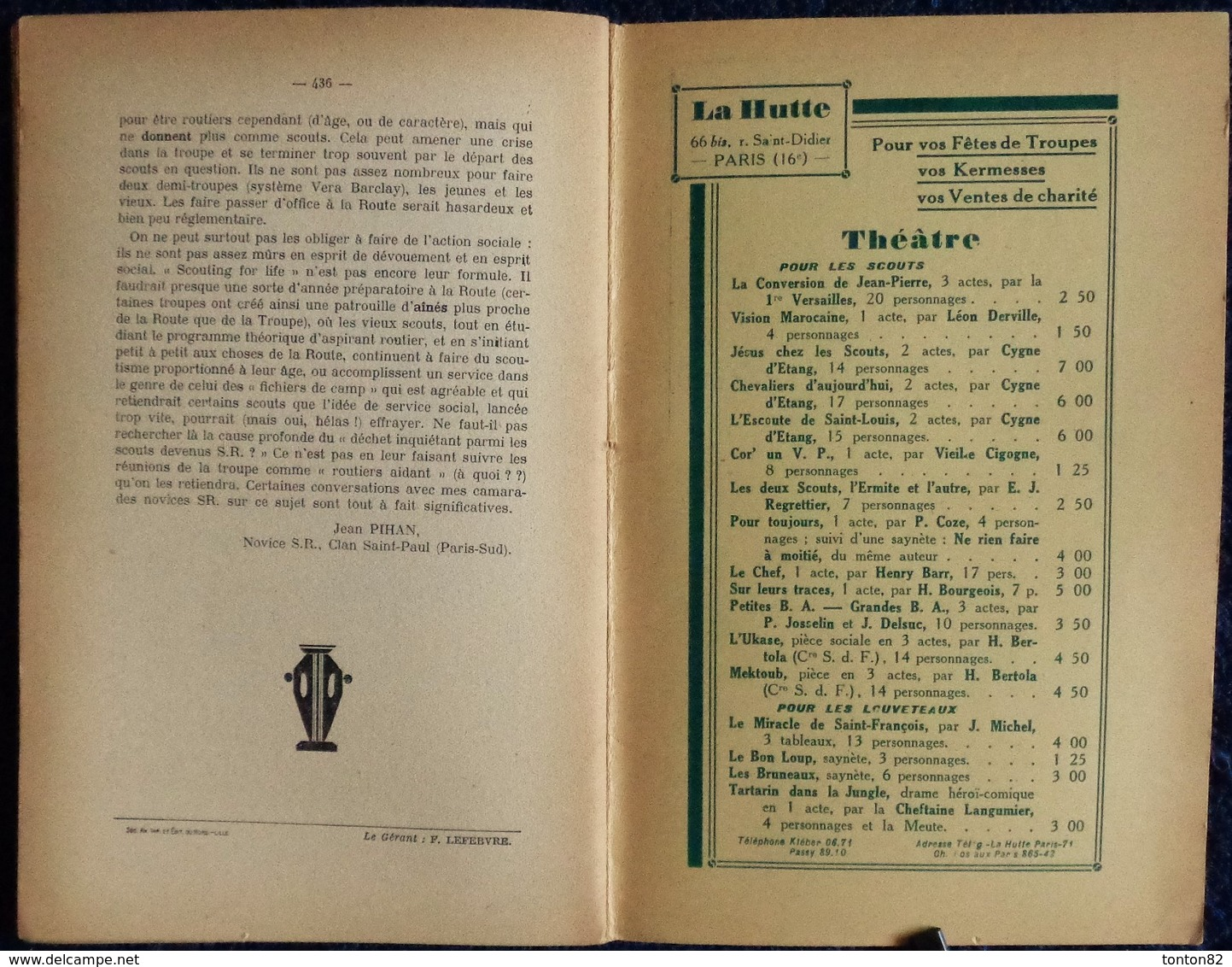 LE CHEF - Revue Mensuelle Du Scoutisme Français - N° 77 - 15 Novembre 1930 . - Bücher, Zeitschriften, Comics