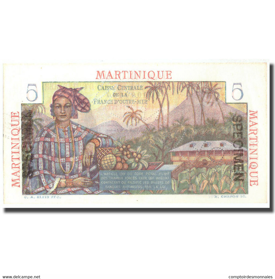Billet, Martinique, 5 Francs, Undated (1947), Specimen, KM:27s, NEUF - Specimen