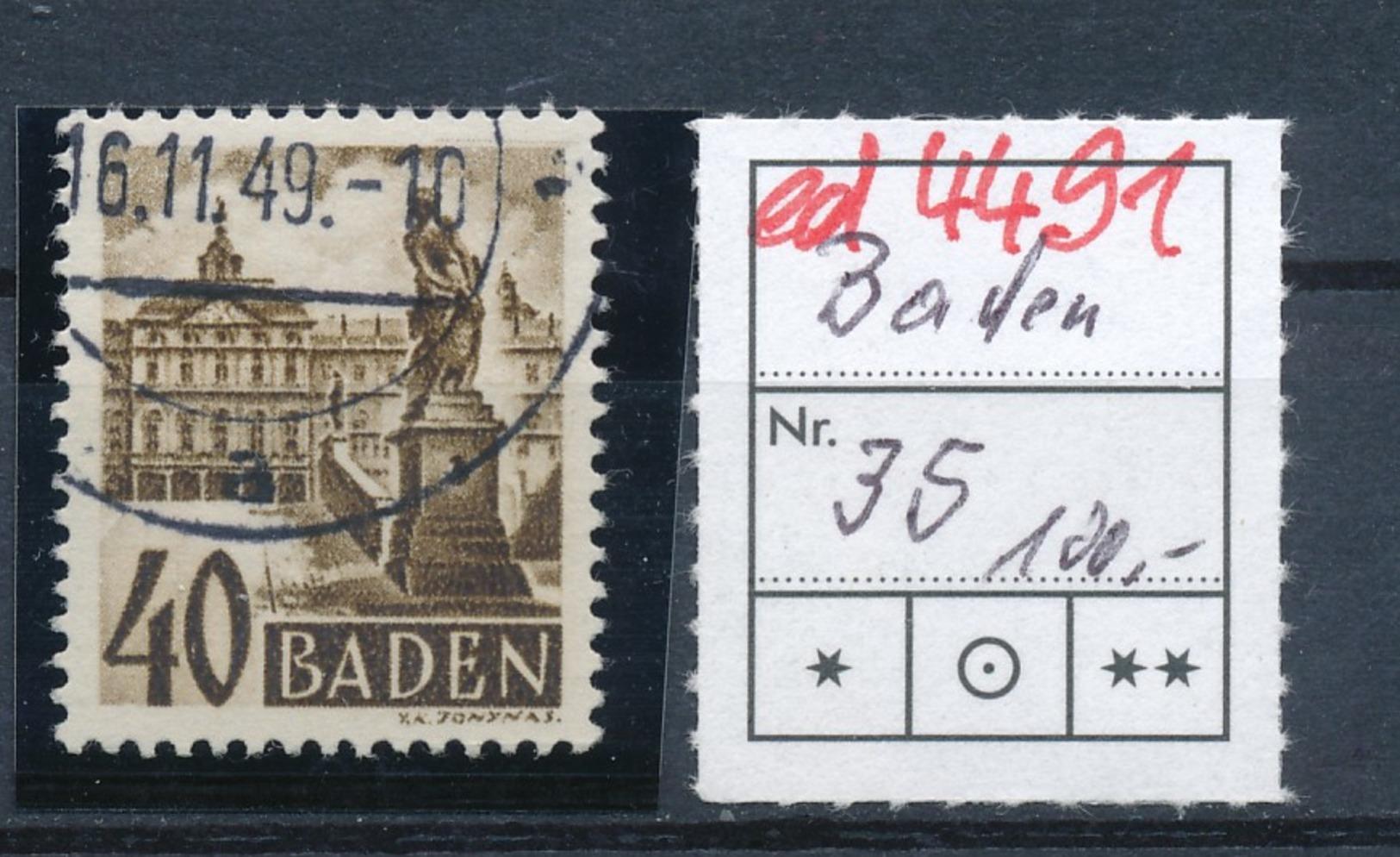 Baden  Nr. 35  O  (ed4491  ) Siehe Scan - Zone Française
