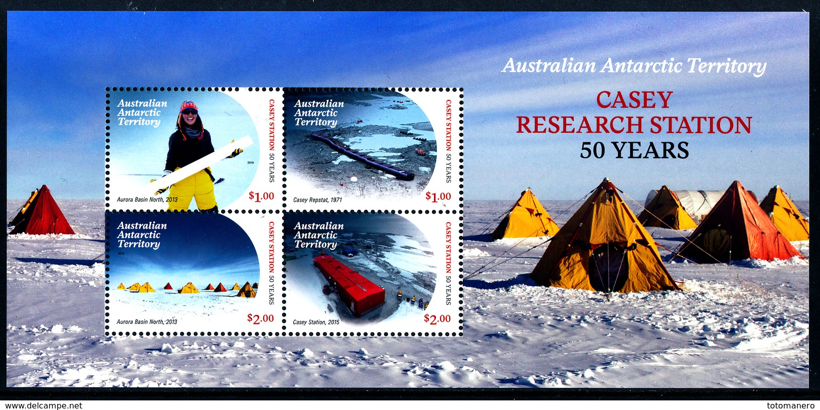 A.A.T. AUSTRALIAN ANTARCTIC TERRITORY 2019, CASEY RESEARCH STATION 50 YEARS Minisheet** - Unused Stamps
