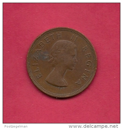 SOUTH AFRICA, 1957, Circulated Coin XF, 1 Pence, QE II, KM 46, C1437 - Zuid-Afrika