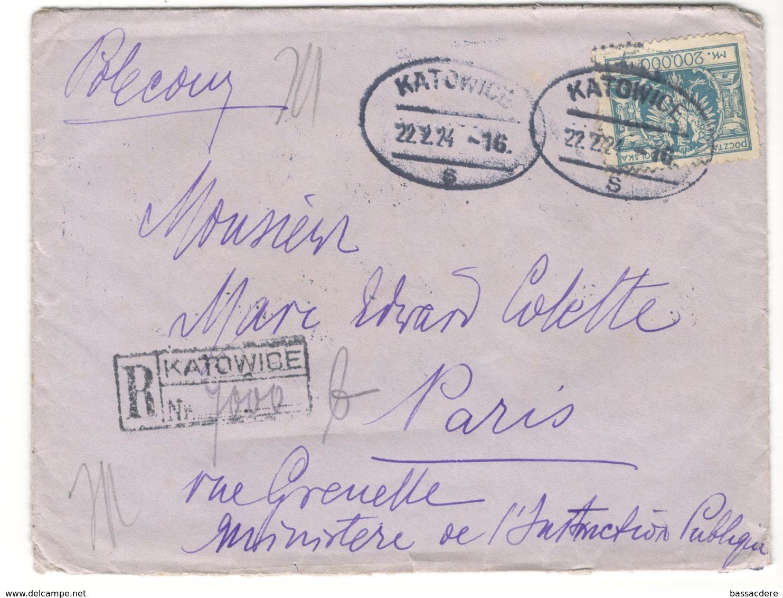 16515 -  Recommandée De KATOWICE - 1919-1939 Republic