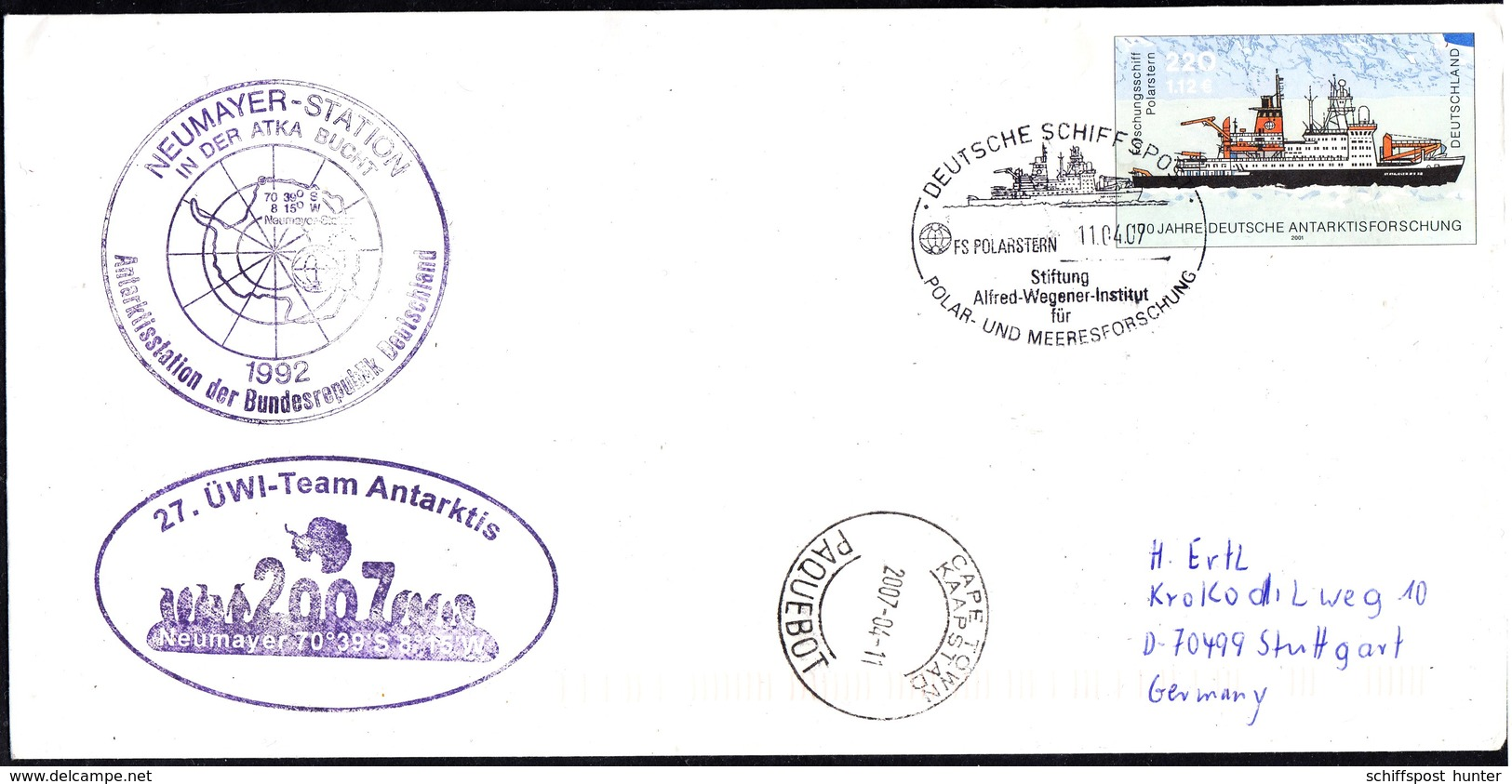 """ANTARCTIC,Germany,Plusbrief !! FS""""POLARSTERN"""",2 Cachets,27.ÜWI,look Scan !! 26.3-40 - Stamps"""