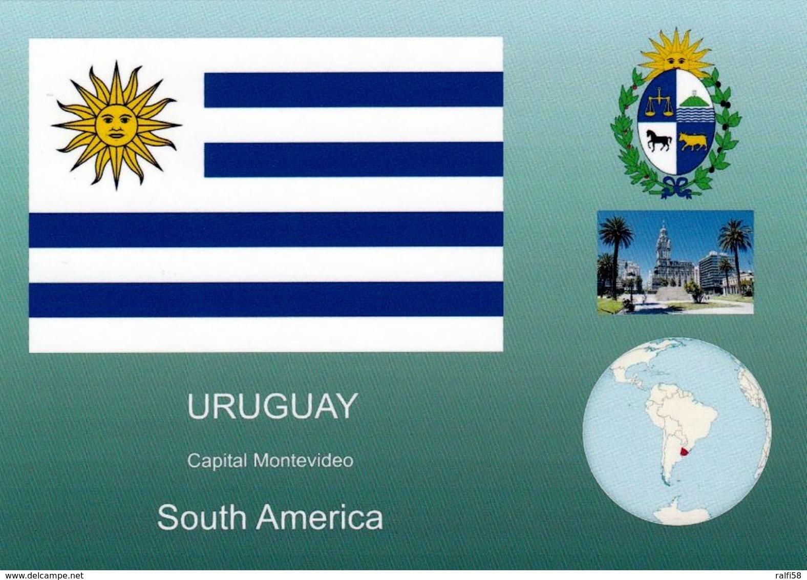 1 AK Uruguay * Flagge, Siegel, Die Position Von Uruguay In Südamerika Und Eine Ansicht Der Hauptstadt Montevideo * - Uruguay