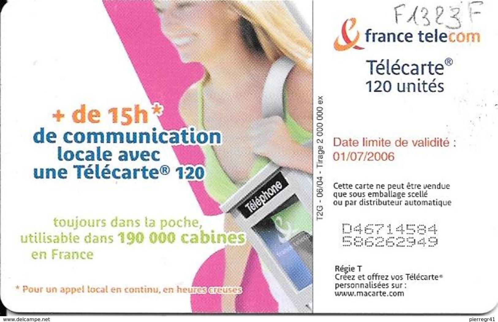 TC-PUBLIC-F1323F-120U-OB2-06/04-N° Maigre-CABINE  BAGAGE 1-UTILISE-TBE-RARE - France