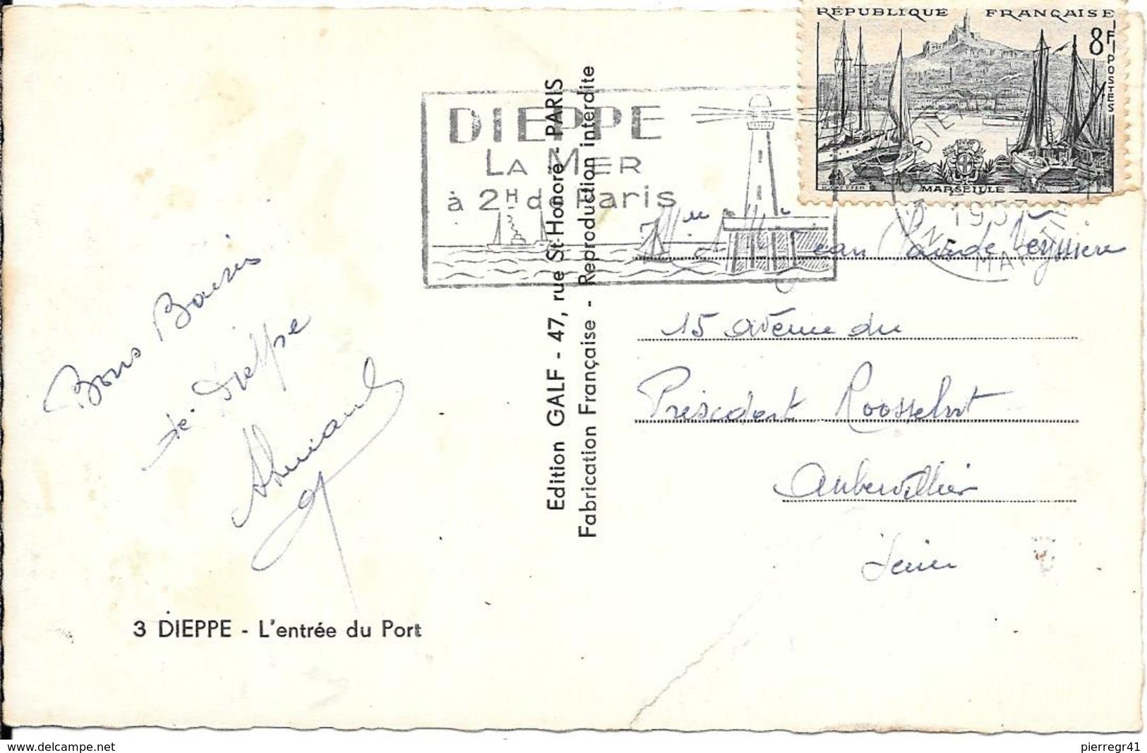 CPA-1950-76- DIEPPE-Arrivée Du-FERRY--au Port-La MALLE D ANGLETERRE Vue Aerienne-Edit Galf-TBE- - Ferries