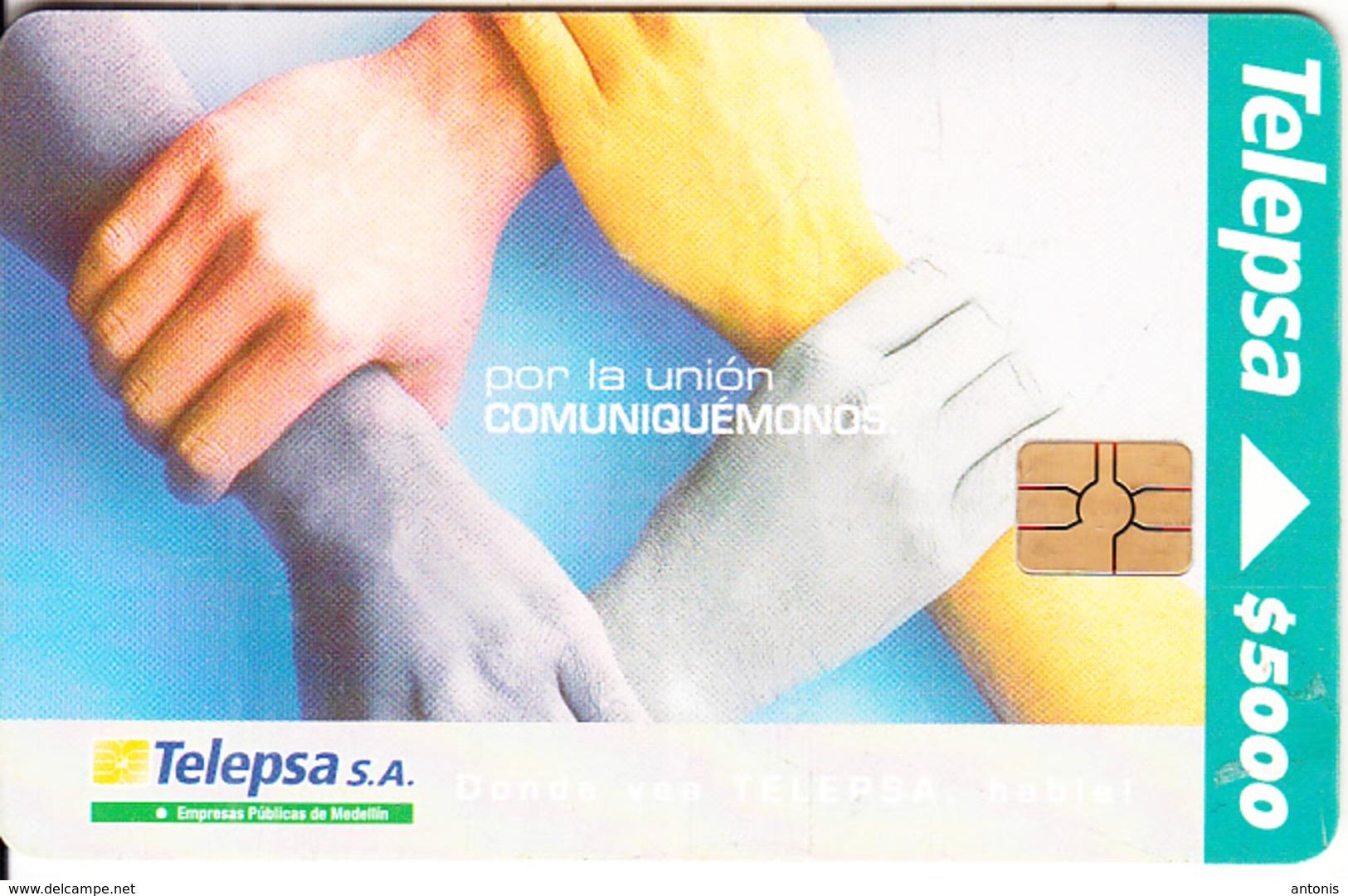COLOMBIA - Por La Unión Comuniquémonos, Telepsa Telecard $5000, Used - Colombia
