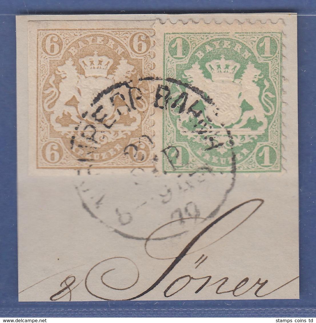 Bayern Wappen Mi.-Nr. 20 Und 22Y Auf Briefstück Mit Einkreis-O NÜRNBERG BAHNH. - Bavière