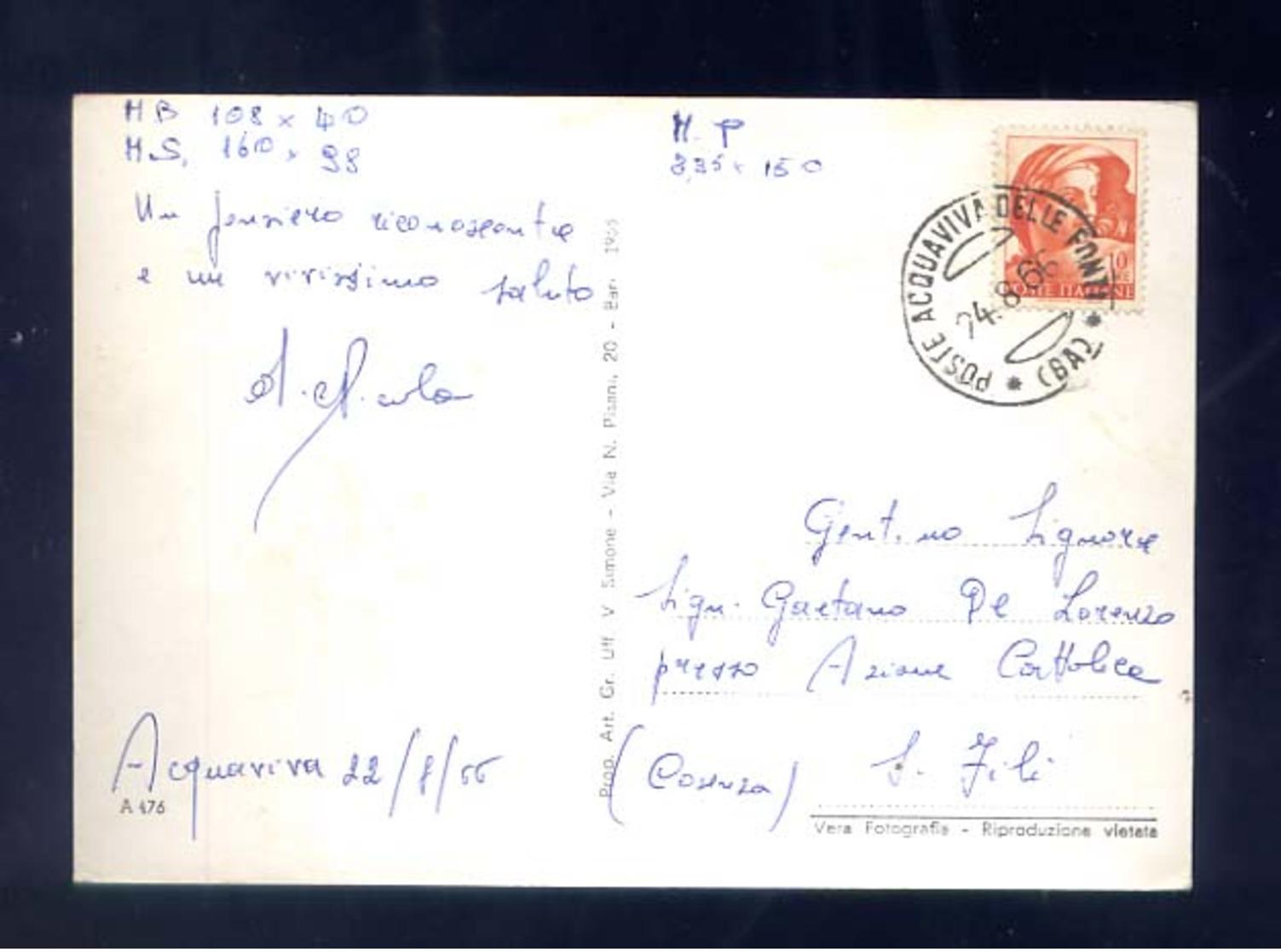 ACQUAVIVA DELLE FONTI-LA CATTEDRALE--VIAGGIATA - 1966-SCIUPATA - Bari