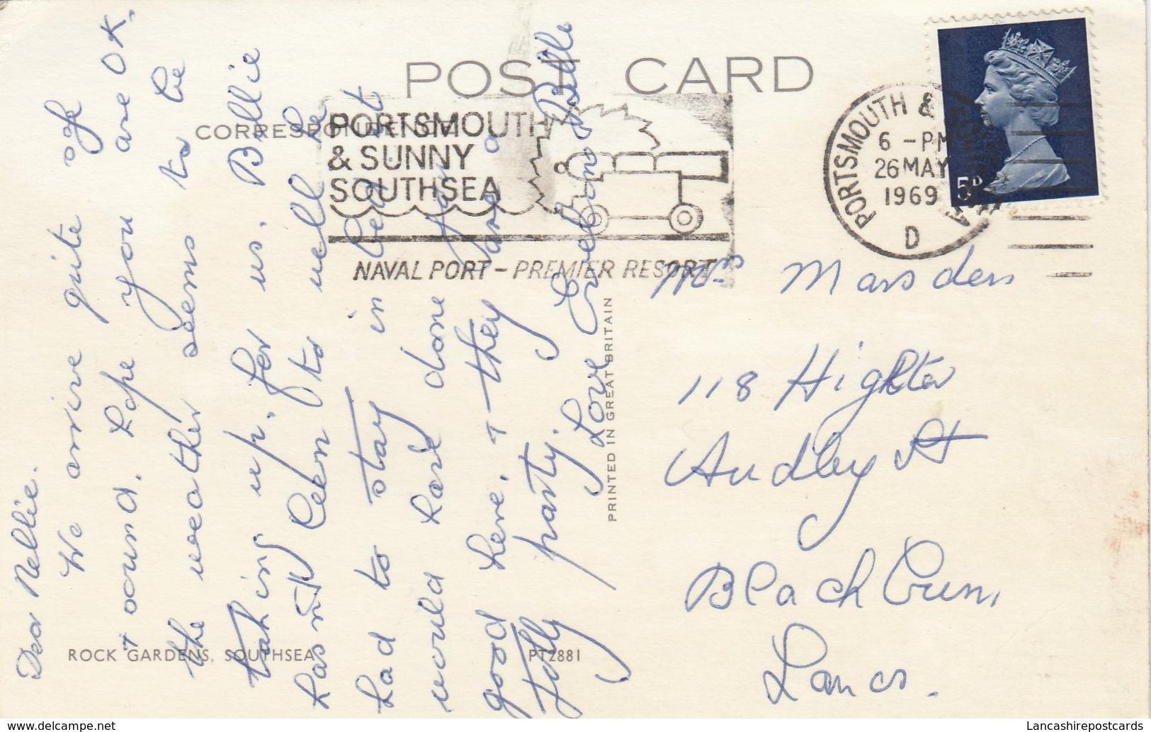 Postcard Rock Gardens Southsea With Portsmouth Naval Port Slogan Cancel PU 1969 My Ref  B13032 - Other