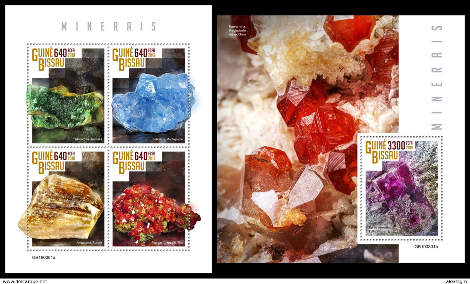 GUINEA BISSAU 2019 - Minerals. M/S + S/S. Official Issue [GB190301] - Mineralen