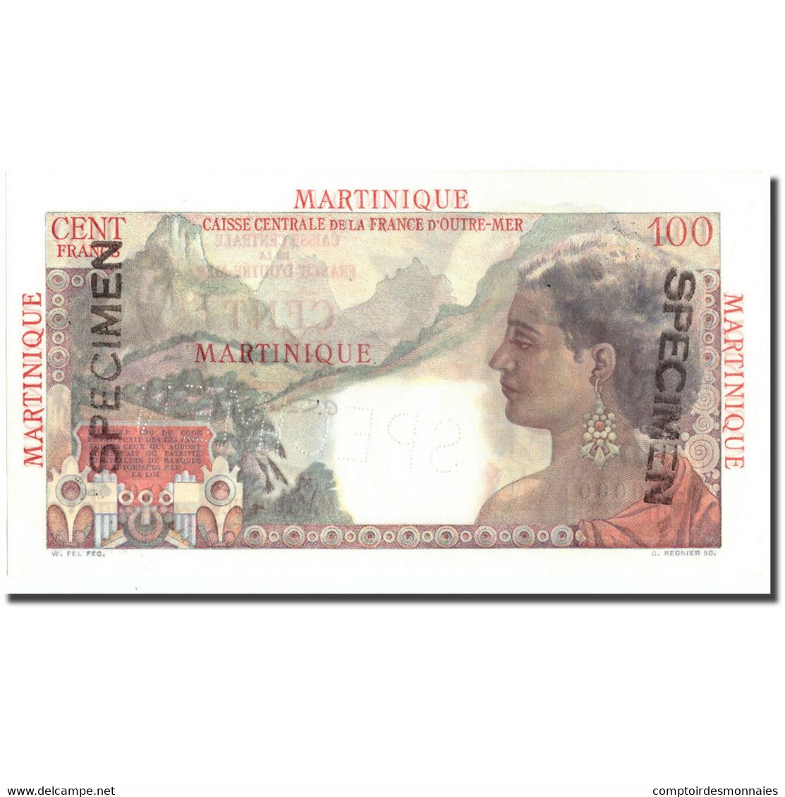 Billet, Martinique, 100 Francs, Undated (1947-49), Specimen, KM:31s, NEUF - Ficción & Especímenes