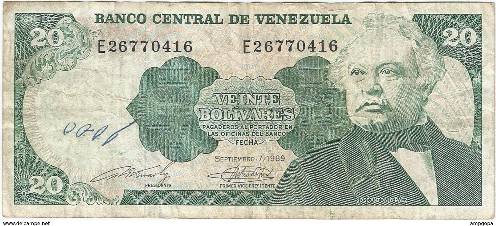 Venezuela 20 Bolívares 7-9-1989 Pk 63 B Ref 9 - Venezuela