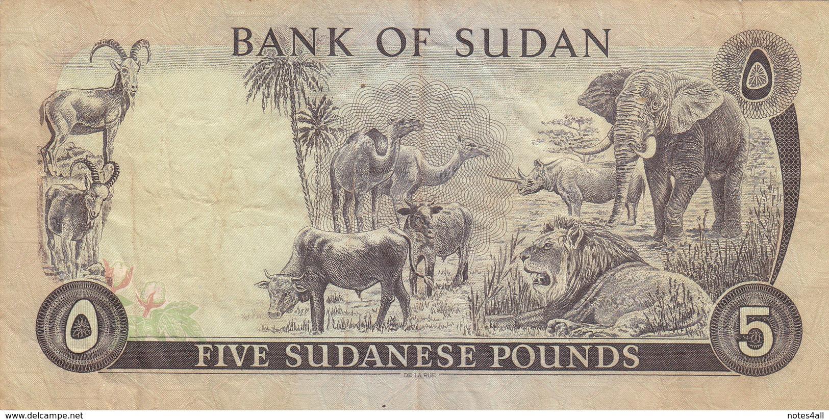 SUDAN 5 POUNDS 1977 P-14b VF USED PREFIX 34/340 */* - Sudan