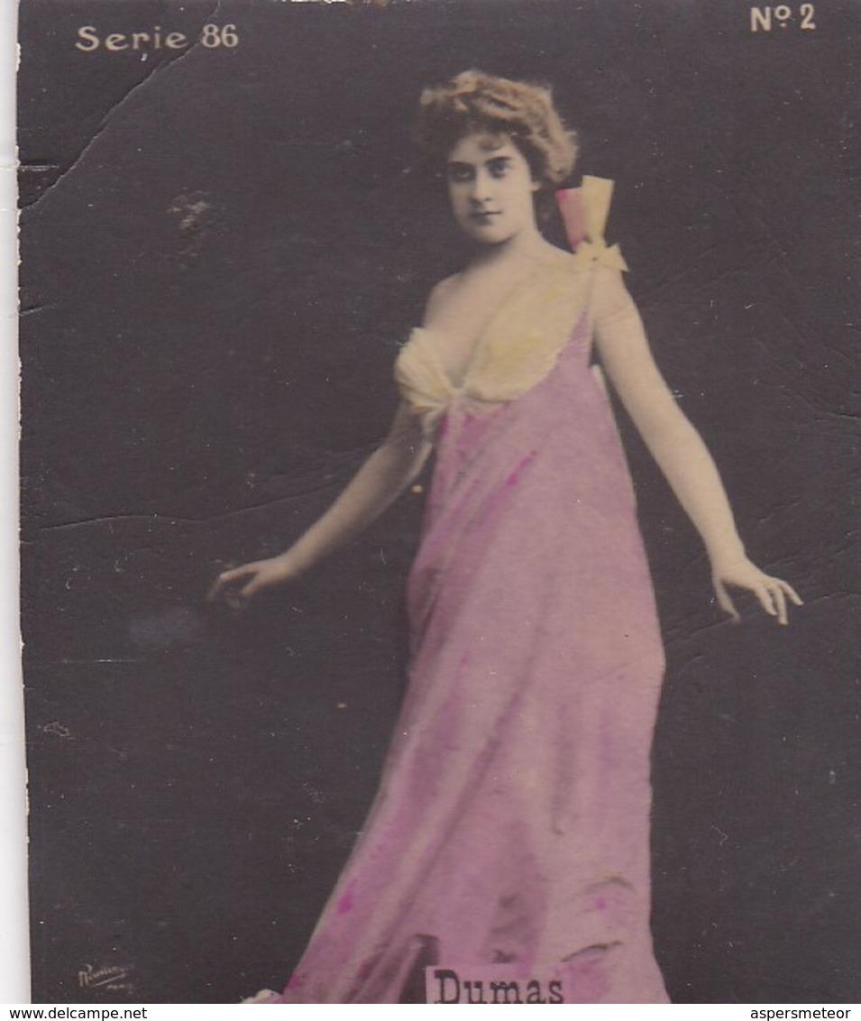 DUMAS. COLORISE. CARD TARJETA COLECCIONABLE TABACO. CIRCA 1915 SIZE 4.5x5.5cm - BLEUP - Berühmtheiten