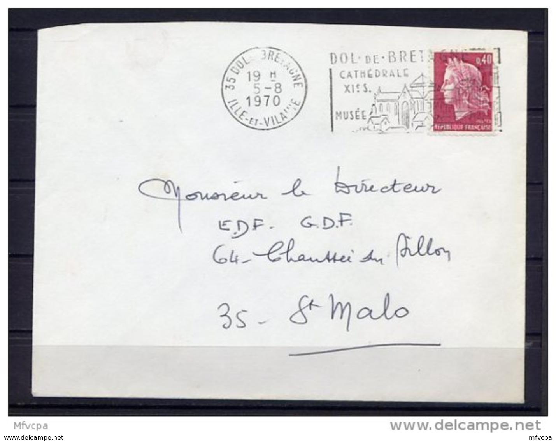 Lil3Q96 Ille Et Vilaine Dol De Bretagne Secap 0= Cathédrale XVIè Siecle ... /Lettre 05/08/1970 - Marcofilie (Brieven)