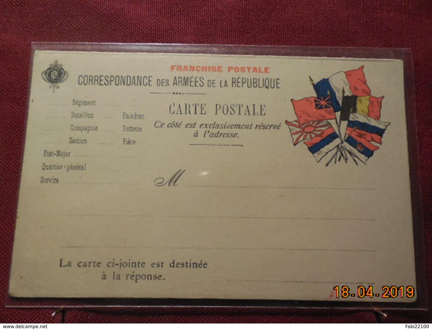 Carte En FM Avec Carte Reponse - Marcophilie (Lettres)