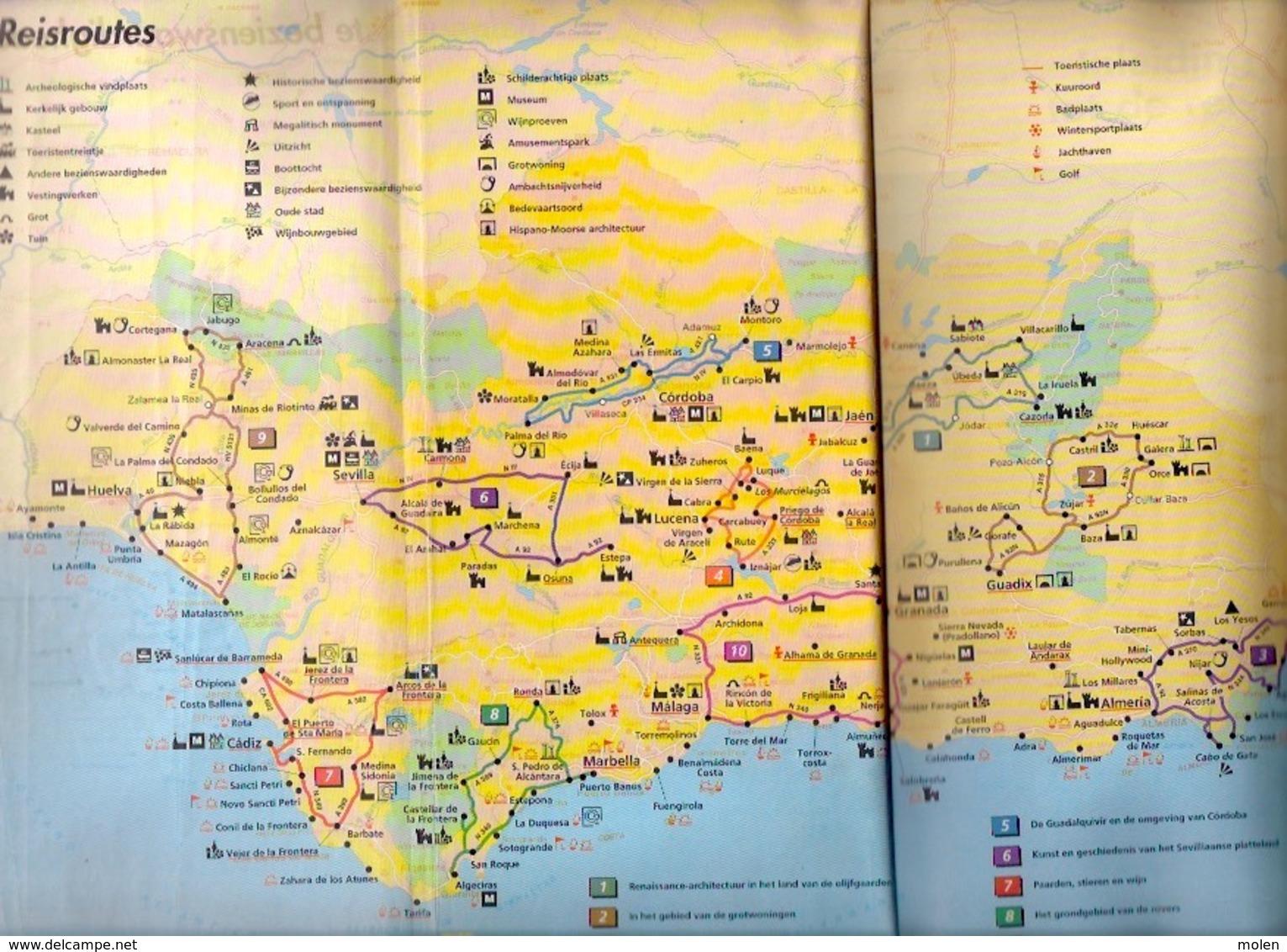 ANDALUSIË Spanje Groene Michelin Sevilla Gibraltar Cadiz Huelva Malaga Granada Reis-gids 382blz LANNOO Reisgids Z148 - Praktisch