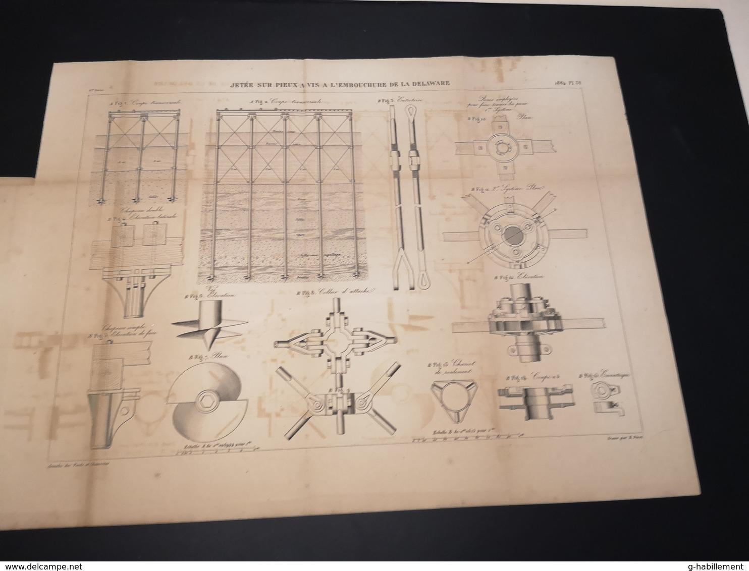 ANNALES DES PONTS Et CHAUSSEES (Etats-Unis) - Plan D'une Jetée Sur Pieux De La Delaware  - Graveur E.Pérot 1884 (CLF31) - Machines