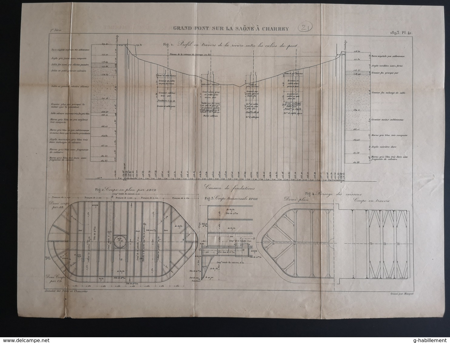 ANNALES PONTS Et CHAUSSEES (Dep 21) - Plan Du Grand Pont Sur La Saône à Charrey - Graveur Macquet - 1893 (CLF37) - Travaux Publics