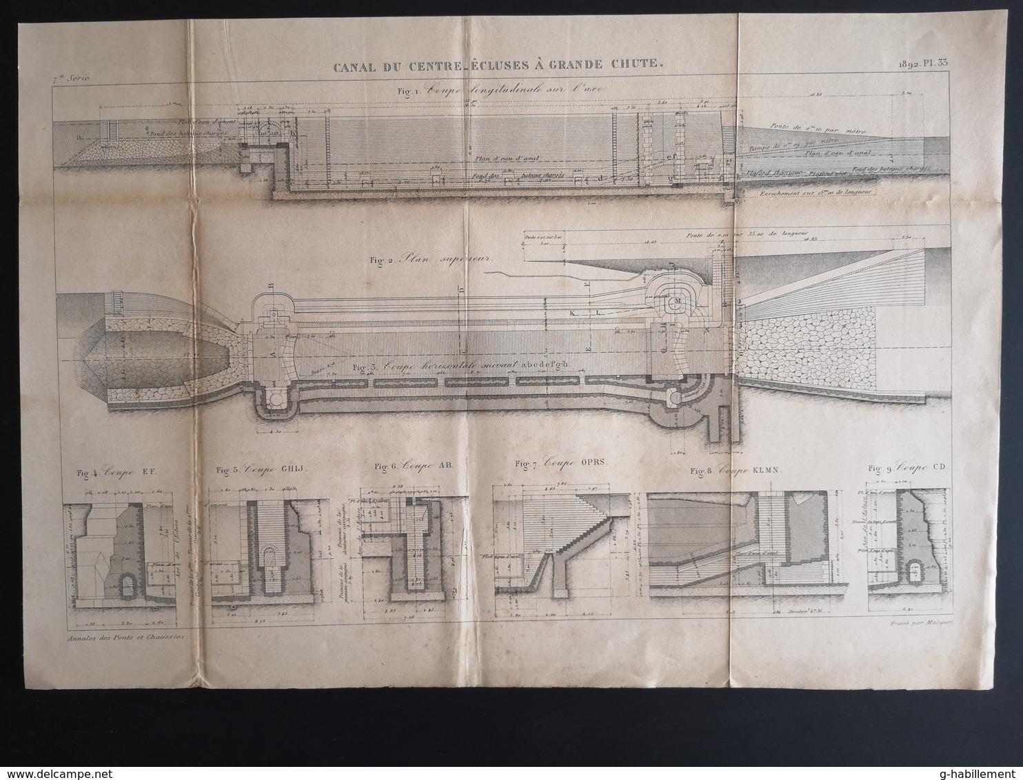ANNALES PONTS Et CHAUSSEES (Dep 51) - Plan Du Canal Du Centre_Ecluses à Grande Chute - Graveur Macquet - 1892 (CLF38) - Cartes Marines