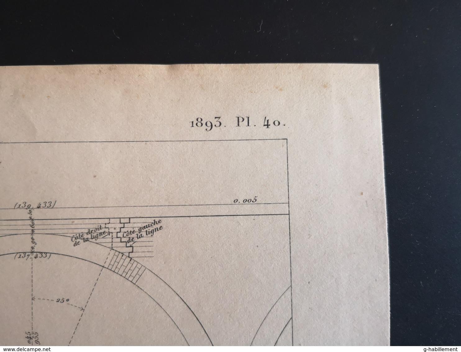 ANNALES PONTS Et CHAUSSEES (Dep 45) - Plan Du Viaduc Sur La Vallée De La Loire à Gien - Graveur Macquet - 1893 (CLF40) - Travaux Publics