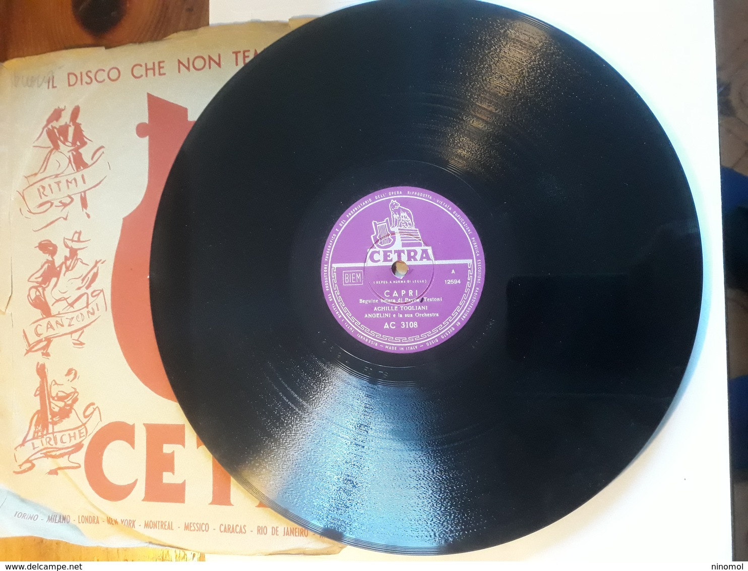 Cetra   -  1956.  Serie AC  Nr. 3108  -   Achille Togliani - 78 G - Dischi Per Fonografi